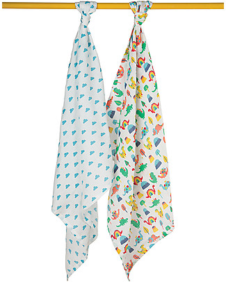 Frugi Lovely 2 Pack Muslin Set, Clouds/Dinos 65 x 65 cm - 100% Organic Cotton Muslin Cloths