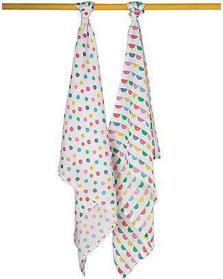 Frugi Lovely 2 Pack Muslin Set, Spots/Bunting 65 x 65 cm - 100% Organic Cotton Muslin Cloths