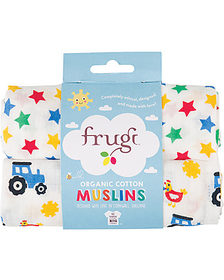 Frugi Lovely 2 Pack Muslin Set, Stars/Tractor 65 x 65 cm - 100% Organic Cotton Muslin Cloths