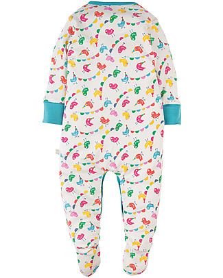 Frugi Lovely Babygrow, Circus Birdies - 100% organic cotton Babygrows