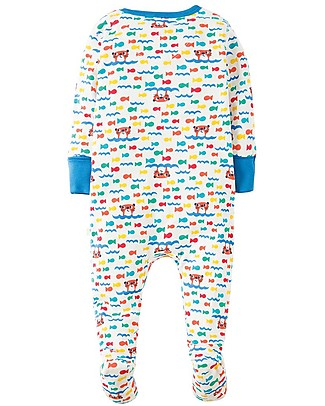 Frugi Lovely Babygrow, Otter Splash - 100% organic cotton Babygrows