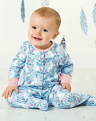 Frugi Lovely Babygrow, Sky blue Artic Hares - 100% organic cotton Babygrows