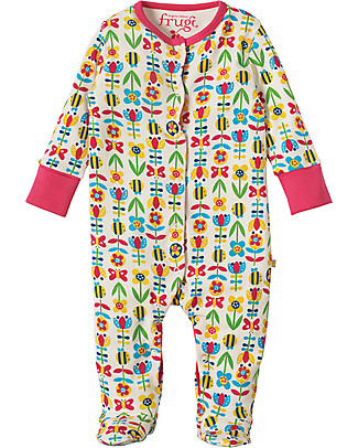 Frugi Lovely Babygrow, Soft Bumble Blooms - 100% organic cotton Babygrows
