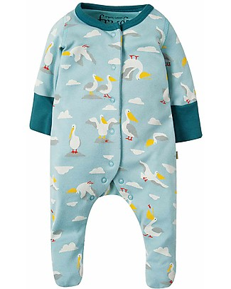Frugi Lovely Little Babygrow, Pellican Party- 100% organic cotton Babygrows
