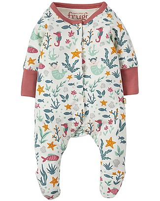 Frugi Lovely Little Babygrow, Rockpool Mermaids - 100% organic cotton Babygrows