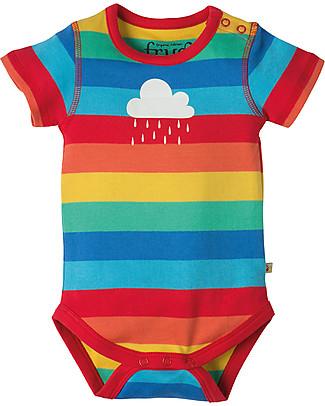 Frugi Lowen Body, Rainbow Stripe/Cloud - 100% organic cotton Short Sleeves Bodies