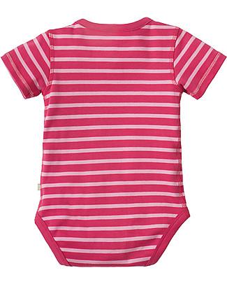 Frugi Lowen Body Raspberry Blossom Stripe/Cat - 100% organic cotton Short Sleeves Bodies