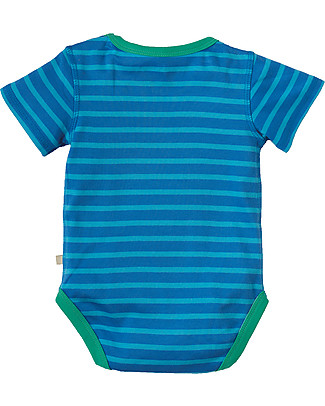 Frugi Lowen Body, Sail Ocean Stripe/Tractor - 100% organic cotton Short Sleeves Bodies