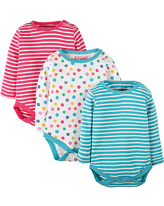 Frugi Luxury Long Sleeved Bodysuits, 3 Pack, Dots/Stripes - 100% organic cotton Long Sleeves Bodies