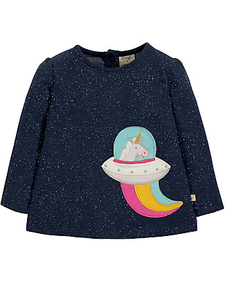 Frugi Mabel Applique Top , Unicorn - 100% organic cotton Long Sleeves Tops