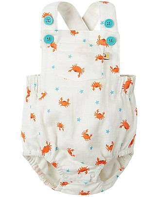 Frugi Mabel Dungaree, Little Rockpoool - Organic Lightweight Muslin Short Rompers