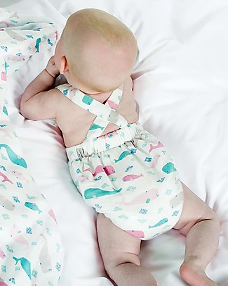 Frugi Mabel Dungaree, Little Whale - Lightweight Muslin Dungarees