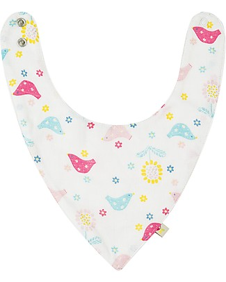 Frugi My First Bib, Chickadee - Absorbent Cotton Muslin  Bandana Bibs