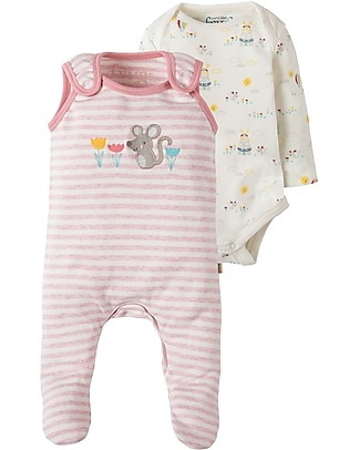 Frugi My first Outfit, BabyGrow & Bodysuit, Pink Marl Stripe/Mouse - 100% organic cotton Babygrows