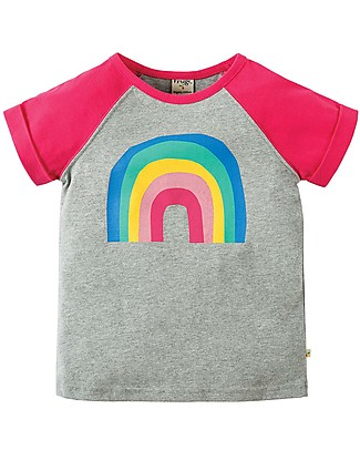 Frugi Nancy Raglan T-Shirt - Grey Marl/Rainbow - 100% organic cotton Long Sleeves Tops