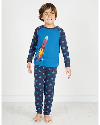 Frugi Navigator Long John PJs, Sail Blue/Rocket - 100% organic cotton Pyjamas