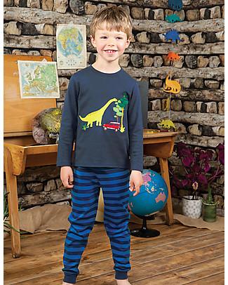 Frugi Navigator Long John PJs, Space Blue/Dino - Organic cotton Pyjamas