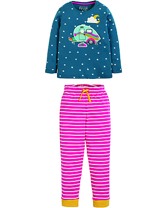 Frugi Navigator Long John PJs, Steely Blue Satar/Caravan - 100% organic cotton Pyjamas