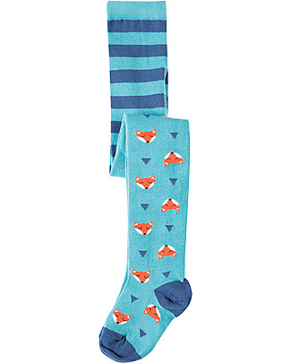 Frugi Norah Tights, Aqua/Foxes - Organic Cotton (soft, cosy and non-scratchy!) Tights
