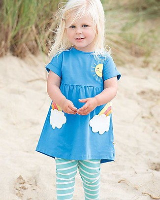 Frugi Olive Outfit, Sail Blue/Clouds - Elasticated organic cotton Evening Tops