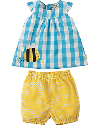 Frugi Orla, Baby Girl's Outfit, Bee - 100% organic cotton Rompers
