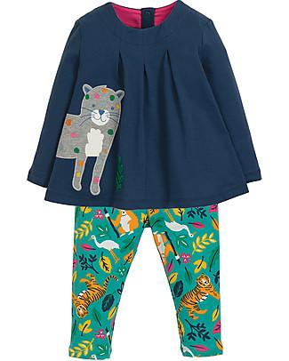 Frugi Ottilie Outfit Top+Leggings, Snow Leopard - Elasticated organic cotton Evening Tops