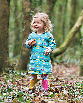 Frugi Peek A Boo Reversible Dress, Seaglass Alpine Town/Raccoon - Organic cotton Dresses