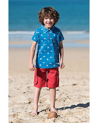 Frugi Penwith Polo Shirt, Blu/ Skull and Bones - 100% Organic Cotton T-Shirts And Vests