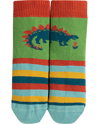 Frugi Perfect Little Socks, Dino/Meadow - Elasticated Organic Cotton Socks