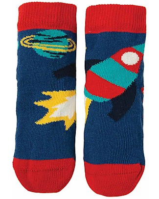 Frugi Perfect Little Socks, Marine Blue/Rocket - Elasticated Cotton Socks