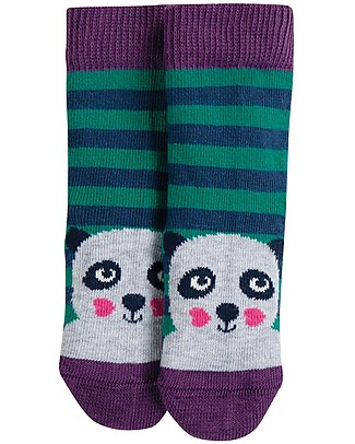 Frugi Perfect Little Socks, Panda/Jade Stripes - Elasticated Organic Cotton Socks