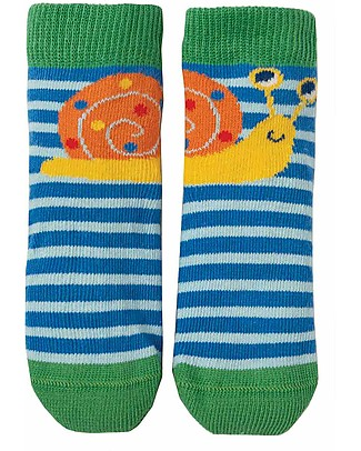 Frugi Perfect Little Socks, Sail Blue Stripe/Snail - Elasticated Cotton Socks