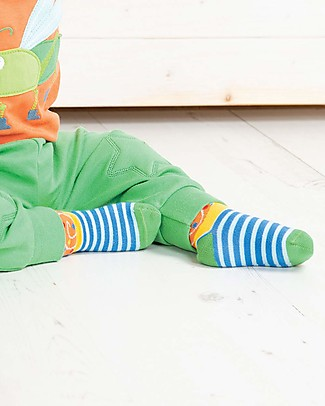Frugi Perfect Little Socks, Sail Blue Stripe/Snail - Elasticated Organic Cotton Socks