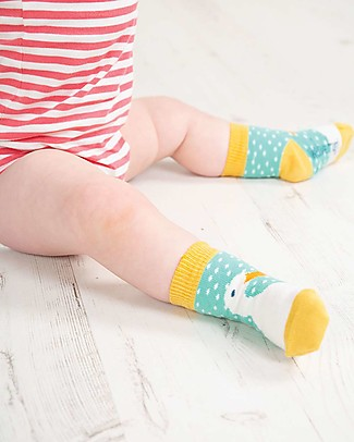 Frugi Perfect Little Socks, St Agnes Spot/Duck - Elasticated Cotton Socks