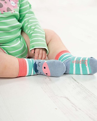 Frugi Perfect Little Socks, St Agnes Stripe/Pony - Elasticated Cotton Socks