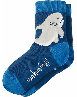 Frugi Perfect Pair Socks, Marine Blue/Shark - Elasticated Cotton Socks