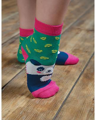 Frugi Perfect Pair Socks, Panda/Jade Leaf - Elasticated Organic Cotton Socks