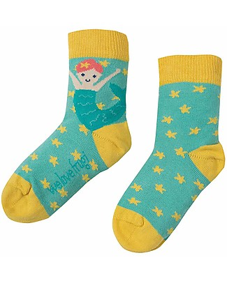 Frugi Perfect Pair Socks, St Agnes/Mermaid - Elasticated Cotton Socks
