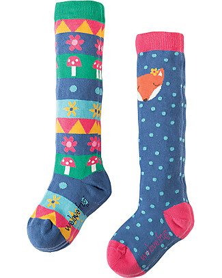 Frugi Pippi, Girl's Long Socks 2 Pack, Fox - Organic cotton Socks