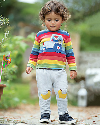 Frugi Playtime Kneepatch Crawlers, Grey Marl/Chickens - 100% organic cotton Trousers