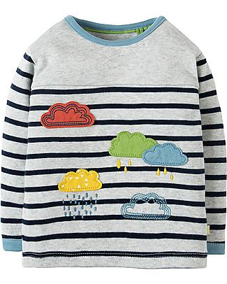 Frugi Playtime Panel Tee, Grey Marl Stripe/Rainclouds - Organic cotton Long Sleeves Tops
