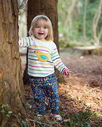 Frugi Playtime Panel Tee, Rainbow Chunky Breton/Bird - Organic cotton Long Sleeves Tops