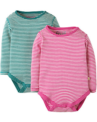 Frugi Pointelle 2-Pack Bodysuits, - 100% organic cotton Long Sleeves Bodies