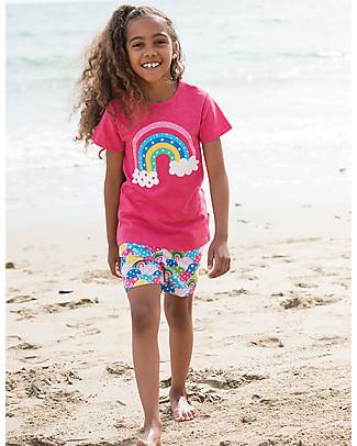 Frugi Praa Printed T-shirt, Raspberry/Rainbow - 100% organic cotton T-Shirts And Vests