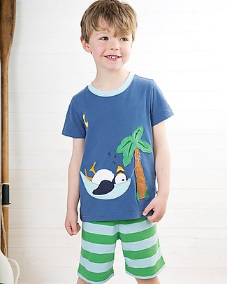 Frugi Praa Pyjamas, 2 pieces - Marine Blue/Puffin - Organic Cotton Pyjamas