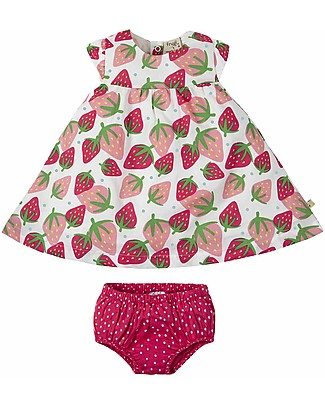 Frugi Pretty Polly Dress Set (dress + knickers), Scilly Strawberries - Organic cotton Sets And Co-Ords