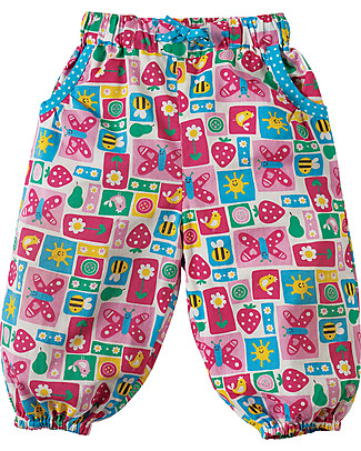 Frugi Pretty Pull Ups, Strawberry Patchwork - 100% organic cotton Trousers