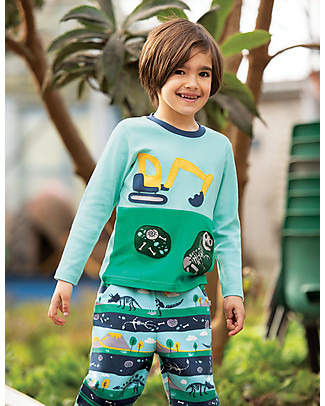 Frugi Printed Snug Jogger, Dig Up a Dino - 100% organic cotton fleece Trousers