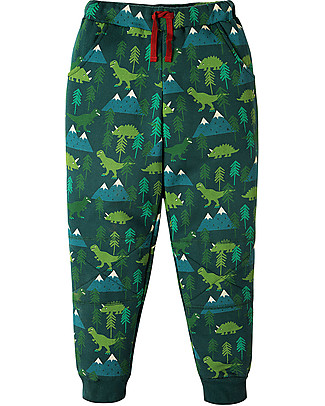 Frugi Printed Snug Jogger, Dino Trek - 100% organic cotton fleece Trousers