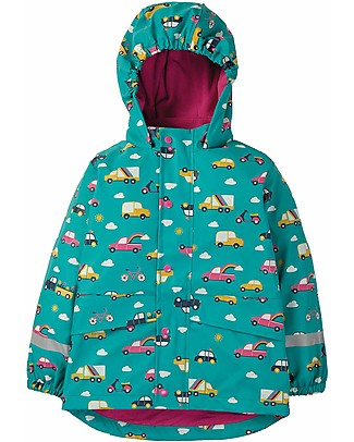 Frugi Puddle Buster Coat, Aqua Rainbow Roads- Welded Seams, 100% Waterproof! Jackets